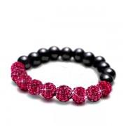 Sztreccs shamballa karkötő rózsaszín kristályokkal