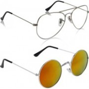 Phenomenal Aviator, Round Sunglasses(Clear, Yellow)