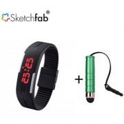 Sketchfab Unisex K3 Silicone Rubber Digital Watches Bracelet Wristwatch High Sensitive Mini Stylus Pen - Multi Color