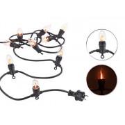 Deko-Lichterkette mit 10 Glühbirnen in Flammen-Optik, IP44, 4,2 m | Lichterkette