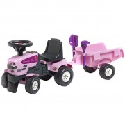 FALK Baby Princess Tractor with Trailer and Accessories Pink 1+