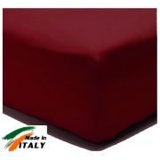 Lenzuolo Angolo con Elastici Matrimoniale Lenzuolo Made in Italy Cotone BORDEAUX