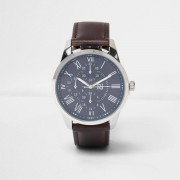 River Island Mens Dark Brown leather look strap watch (One Size)