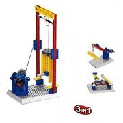Little Builder Engineering Hoist Lift Building Bricks Kit, 68 Pieces Playset