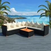 vidaXL Set mobilier de grădină 25 piese, poliratan și blat WPC, negru