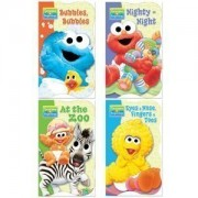 Sesame Street Beginnings Shaped Board Books (Set Of 4) Nighty Night, Bubbles Bubbles, At The Zoo, And Eyes Nose Fingers Toes Sesame Street Learning Book Set