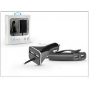 Szivargyújtó töltő + USB elosztó HUB 4xUSB csatlakozóval, 1,8 m-es vezetékkel - 5V/7.3A - black