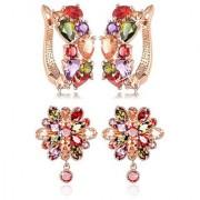 YouBella Jewellery Earrings for Women Combo of Two Multi-Color AAA Crystal earings Stylish Fancy Party wear ear rings for Girls and Women