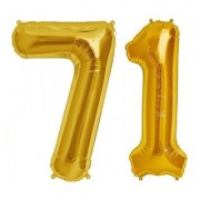 De-Ultimate Solid Golden Color 2 Digit Number (71) 3d Foil Balloon for Birthday Celebration Anniversary Parties