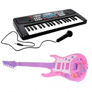 Combo of 37 Key Piano Keyboard Toy with DC Power Option, Recording and Mic with Musical Guitar (pink )With Light And Sound for kids