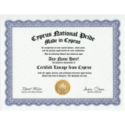 Cyprus Cypriot National Pride Certification: Custom Gag Nationality Family History Genealogy Certificate (Funny Customized Joke Gift - Novelty Item)