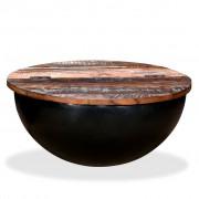 vidaXL Маса за кафе, регенерирано дърво масив, черна, форма на купа
