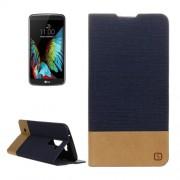 LG K10 Canvas Pattern PU + TPU Horizontal Flip Leather Case with Holder & Card Slots (Dark Blue)
