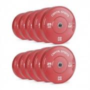 Nipton Conjunto Completo Placas de Peso Borracha 5 Pares de 25 kg Cada Vermelho