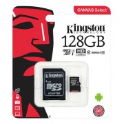 Kingston Canvas Select microSDXC-kort, 128GB, Klass 10 UHS-I, inkl adapter