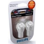 Set 2 becuri Philips PY21W 12V 21W BAU15s Silver Vision Blister