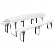 vidaXL 3 db védőhuzat sör asztalnak és padoknak 240 x 90 cm fehér