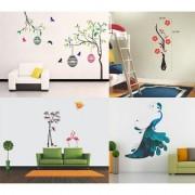 EJA Art Combo of 4 Wall Sticker Free Bird Case-(150 X 115 Cms) Flower Vase Red-(60 X 134 Cms) Flamingos And Bamboo-(150 X 125 Cms) Modern Peacock-(90 X 75 Cms)-Matrial Vinyl