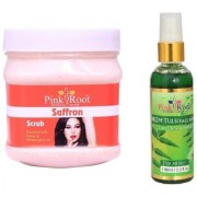 PINK ROOT SAFRON SCRUB 500GM WITH NEEM FACE WASH 100ML