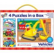 Set 4 puzzle-uri Vehicule 4 6 8 12 piese