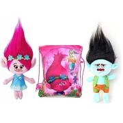 Happy Trolls Poppy, Branch DreamWorks Trolls Película de Peluche de 9 Pulgadas, Juego de 2, Viene en Bolsa con cordón de Ajuste Divertido/Bolso/Mochila. Trae Tus Trolls contigo