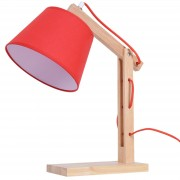 HOMCOM Table Lamp, Solid Wood Holder, 23Lx20Wx45H cm-Red