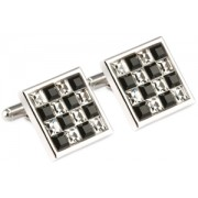 Mousie Bean Crystal Cufflinks Multi Square 096 Black