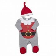 Set Salopeta si caciulita cu motiv de Craciun - model Mos Craciun