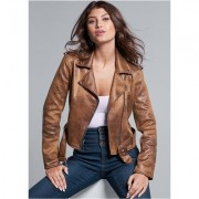 Plus Size Distressed Moto Jacket Jackets & Coats - Brown
