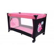 BABYMAXI utazóágy pink-fekete színben ajándék szúnyoghálóval