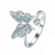 Inel argint 925 KRASSUS Butterfly Effect reglabil, marime universala, model fluture