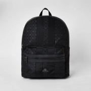 River Island Mens Black RIR monogram zip top backpack (One Size)