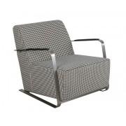 Fotel ADWIN BLACK & WHITE 3003003 Zuiver czarno-biały designerski fotel z nierdzewnymi podłokietnikami pokrytymi sztuczną skórą