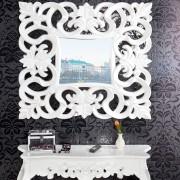Oglinda decorativa Venice alb antic