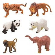 Venus-Planet Of Toys Wild Animal Model Of Tiger, Polar Bear, Lion, Asian Elephant, Panda & Baboon Learning Educational Toys(Set Of 6)(Multicolour)
