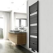 Designradiator Elara 181.7x60cm 1067W Mat Zwart Middenonderaansluiting
