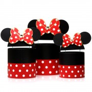 Set 3 cutii rotunde cu buline și urechi Minnie Mouse - negru/roșu