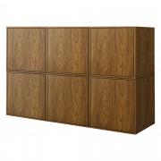 [en.casa]® Combinación de armario montada en la pared - 6 x estantería de pared combinado - color nogal - Cómoda - Sideboard - armario con puerta - 135x30x90cm