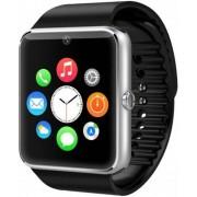"Smartwatch Cronos GT08, Capacitive touchscreen 1.54"", Bluetooth, Bratara silicon, Functie telefon (Argintiu/Negru)"