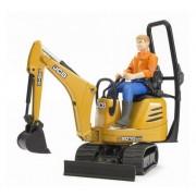 Excavator Micro JCB 8010 CTS cu figurina muncitor