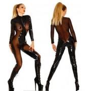 Černý průhledný catsuit