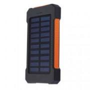 Set Acumulator Extern 10000 mAh cu Incarcare Solara 2 USB Lanterna LED cu Mod SOS Negru-Portocaliu si Adaptor Priza Centenar