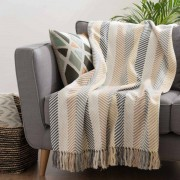 Maisons du monde Plaid multicolore con motivi a spina di pesce in cotone 160x210