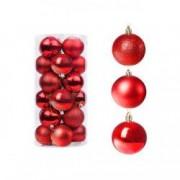 Set globuri Craciun pentru brad din plastic 6cm 30 buc rosu