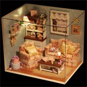 Dollhouse Miniature DIY Kit Happy Time Room With Cover