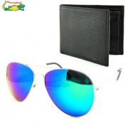 Elligator Reflected Aviator Sunglasses With Black Wallet