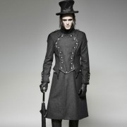 Punk Rave Last Stand Buttoned High Collar Long Coat Black Y-704