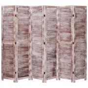 vidaXL Параван за стая, 6 панела, кафяв, 210x165 cм, дърво