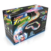 Mindscope LED Laser Twister Tracks 12 Feet of Light Up Flexible Track + 1 Light Up Race Car Each Individual Track Piece Contains Lights (Transparent Color System)