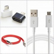 MO COMBO of 3 1 Micro Mini USB OTG Cable 1 Mobile Charging Cable 1 Aux Cable